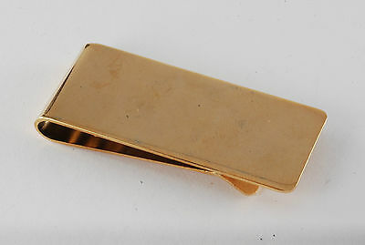 Vintage Collectible Shiny Gold Plated Thin Metal Money Clip New Old Stock