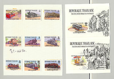 Togo #1264-1274 Trains 9v & 2v S/S Imperf Chromalin Proofs Mounted on 2 Cards