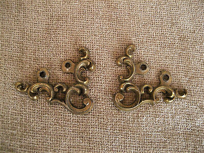 Vintage Solid Brass Ornate Ornament Hardware Lot Of 2
