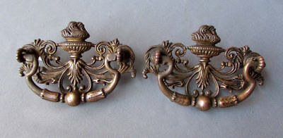 Pair ANTIQUE Keeler Brass Company CAST BRASS DRAWER PULLS circa 1890 - 1910