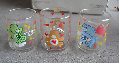 """Lot of 3 Vintage 1984 86 Small Care Bears Glasses 3"""" Tall Mint"""