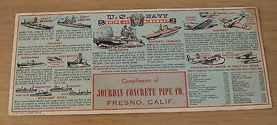 """1942 WWII  Fresno CA Ad BLOTTER~""""U.S. NAVY Ships and Aircraft"""" Jourdan PIPE CO."""