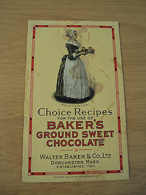 "1916 ADVERTISING/Recipe Booklet~""BAKER'S CHOCOLATE""~World's Fair Winner~Ephemera"