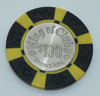 King of Clubs $100 Casino Chip Sparks NV Diecar Coin Inlay 1980 FREE SHIPPING