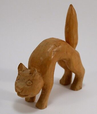 Primitive Folk Art Handmade Carved Wooden Cat Kitten Halloween Arched Back