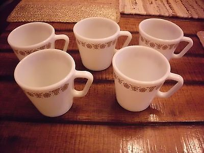 Vintage Pyrex Corelle Butterfly Coffee Mugs D Handle  Set Of 5