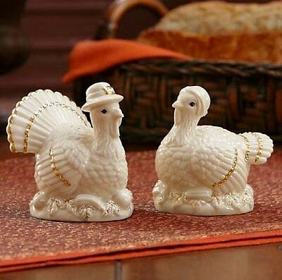 Lenox Thanksgiving Mr. and Mrs. Turkey Salt & Pepper Shakers NEW IN BOX $43