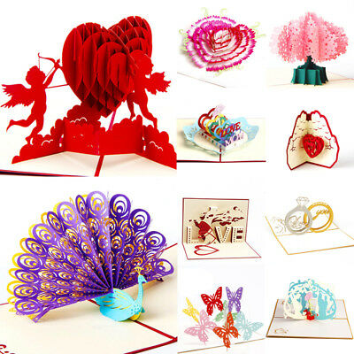 3D Greeting Card Up Paper Cut Happy Birthday Wedding Valentine's Day Card