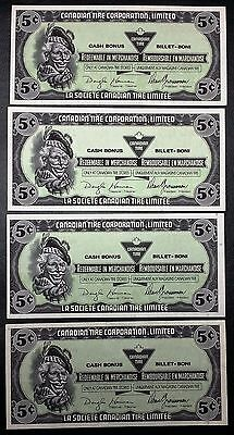 Collection of 4x 1989 Canadian Tire Money 5 Cents Notes - Unicrculated