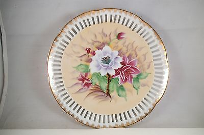 Vintage Napco Japan Reticulated Decorative Plate White Purple Flowers
