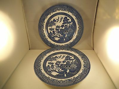 Vintage Pair of Churchill Staffordshire Blue Willow Dinner Plates