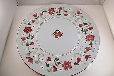 """Vintage Stangl Art Pottery Garland 11"""" Chop Plate Red Flowers B"""