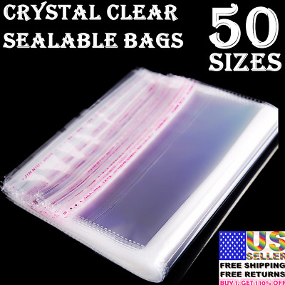 Clear Plastic Reclosable Seal Bags Clothing Jewelry Large Small Poly Packaging