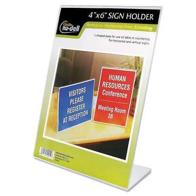 NuDell Clear Plastic Sign Holder, Desktop, 4 x 6 042122354463