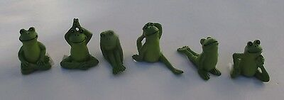 p set of 6 YOGA FROG FIGURINE small miniature collection Ganz