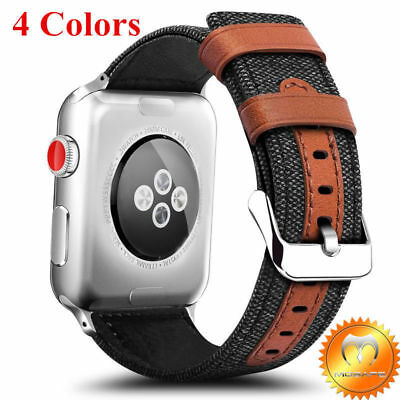 Apple Watch Band 38mm/42mm Fabric Leather iWatch Strap Replacement Series 1 2 3
