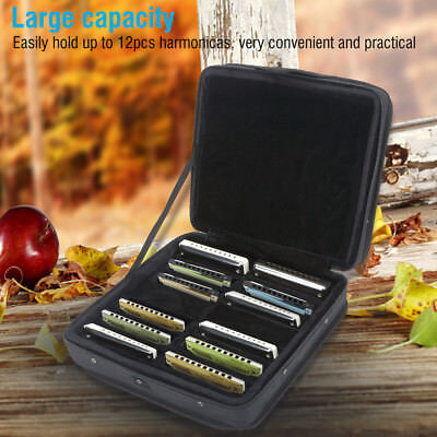Durable 10 Holes Harmonica Zippered Carrying Case Storage Bag for 12 Harmonicas