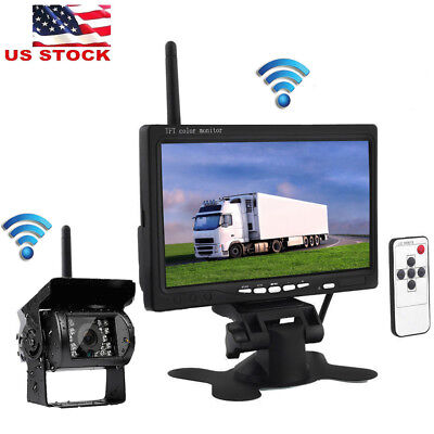 "Wireless IR Rear View Backup Camera Night Vision System+7"" Monitor for RV Truck"