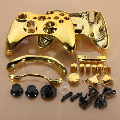 SET Full Chrome Glossy Shell Case + Buttons For Xbox 360 Wireless Controller