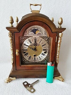 Warmink Clock 3 Melodies Chime Mantel Shelf Nut Wood Moonphase Night Switch