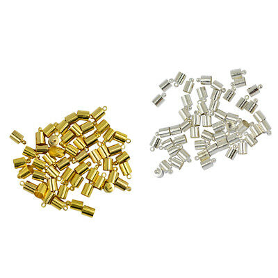 100pcs 6mm Brass End Cap Leather Kumihimo Rattail Cord Jewelry Making Crafts