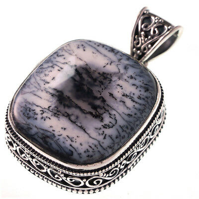 """Sterling Silver Huge Dendritic Opal Necklace Antique Style Pendant 2 1/8"""""""