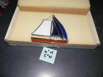 """Tiffany Stained Glass Collectors Society 5""""X 6 SAILBOAT SUNCATCHER  BOX BLUE"""