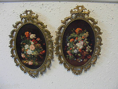 "Vintage 2Pc 8.5"" Brass Tone Ornate Framed Flower Floral Prints Made In Italy ~K"