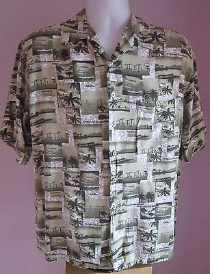 VTG Mens BRUNO Green Multi Pictured Hawaiian Short Sleeve Shirt Size Large