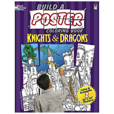 """l Dover Build A Poster Color Book Knight/Dragon Two 32"""" x 32"""" Posters!!"""