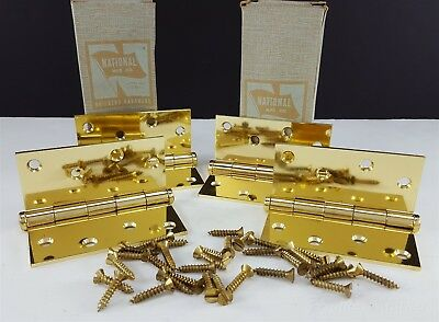 2 Pairs National Bright Brass Butt Hinges 4x4 512 NOS Door Hardware