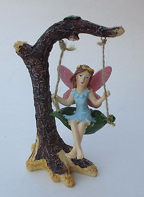 j Blue dress pink wings Fairy on tree Swing garden figurine polystone Ganz