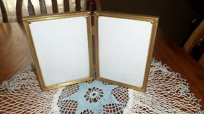 Vintage 5X7 Double Picture Frame Hinged Ornate Gold Tone Metal Bi-Fold