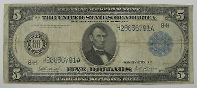 1914 $5 Federal Reserve Note VG - FINE C1076