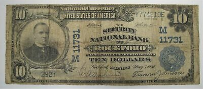 1902 $10 National Bank Note Rockford, IL SCARCE! C1074