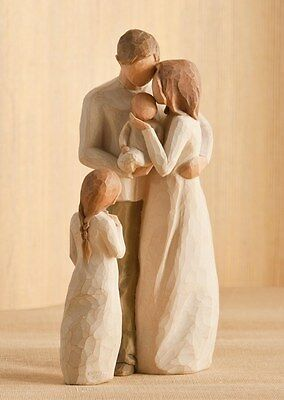 Willow Tree Mother Father with Baby & Daughter Figurine Gift Set  Family Group