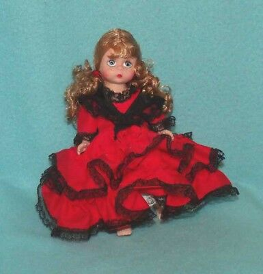 "Vintage Madame Alexander Ruffled Dress in Red with Black Lace for 7-8"" Doll"