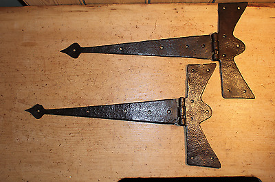 Pair of Antique Wrought Iron T Hinges~Arrow Ends~Hand Forged~