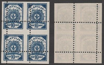 Latvia 7062 - 1919 ARMS 10k BLOCK of 4 MISPLACED PERFS unmounted (Forgery ?)