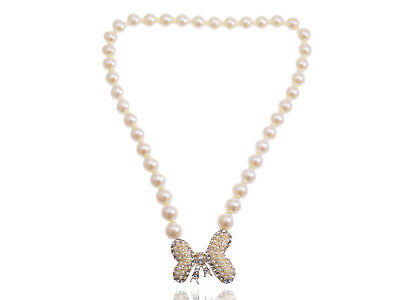 Crystal Rhinestone Butterfly Abstract Cream Bow Fabricated Pearl Bead Necklace