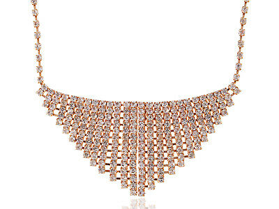 Diamond Encrusted Style Cuff Gold Toned Chain Necklace With Locking Closure