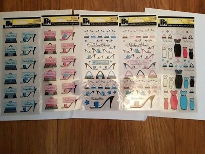 Pack of 5 different sheets of Accent Stickers. Acid Free. 'Fashion'