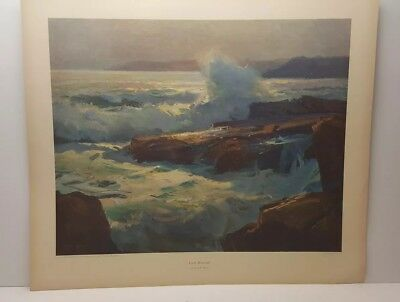 Vintage Lithograph Art Print Early Moonlight Frank Meyers Seascape