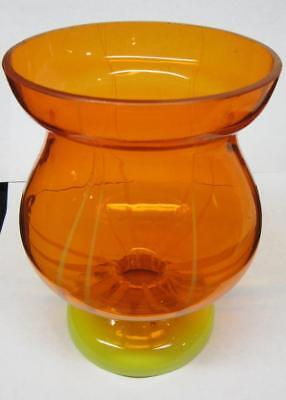 "Brilliant OLD ORANGE & YELLOW VASE, CZECH Czechoslovakia Signed  6"" tall"