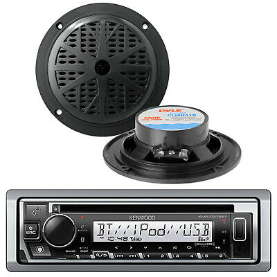 KMRD372BT Kenwood Marine Boat CD/MP3 USB iPod iPhone Pandora Stereo & 2 Speakers