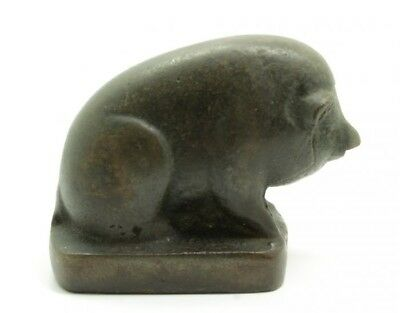 Unusual Vintage Early 20c Art Deco Cast Iron Sculpture of Sitting Pig Sow