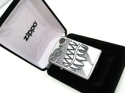 Zippo Full Size Brushed Chrome Dragon Teeth Classic Windproof Lighter 28969