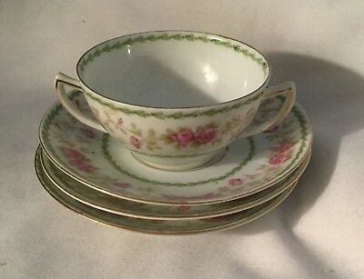 Imperial Austria Crown China 2 Handle Soup Cup & 3 Saucer Pink Roses Hp Art