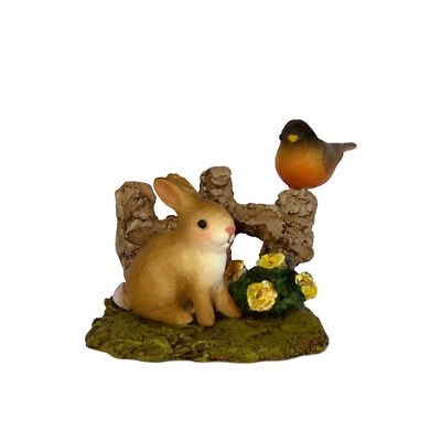 SPRING BUNNY & ROBIN by Wee Forest Folk, WFF# A-37, Easter & Spring Accessory