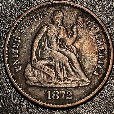 1872 Seated Half Dime - High Quality Scans #F523